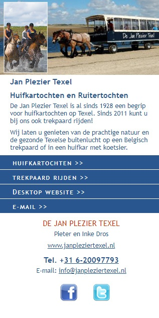 Jan Plezier Texel - mobiele versie
